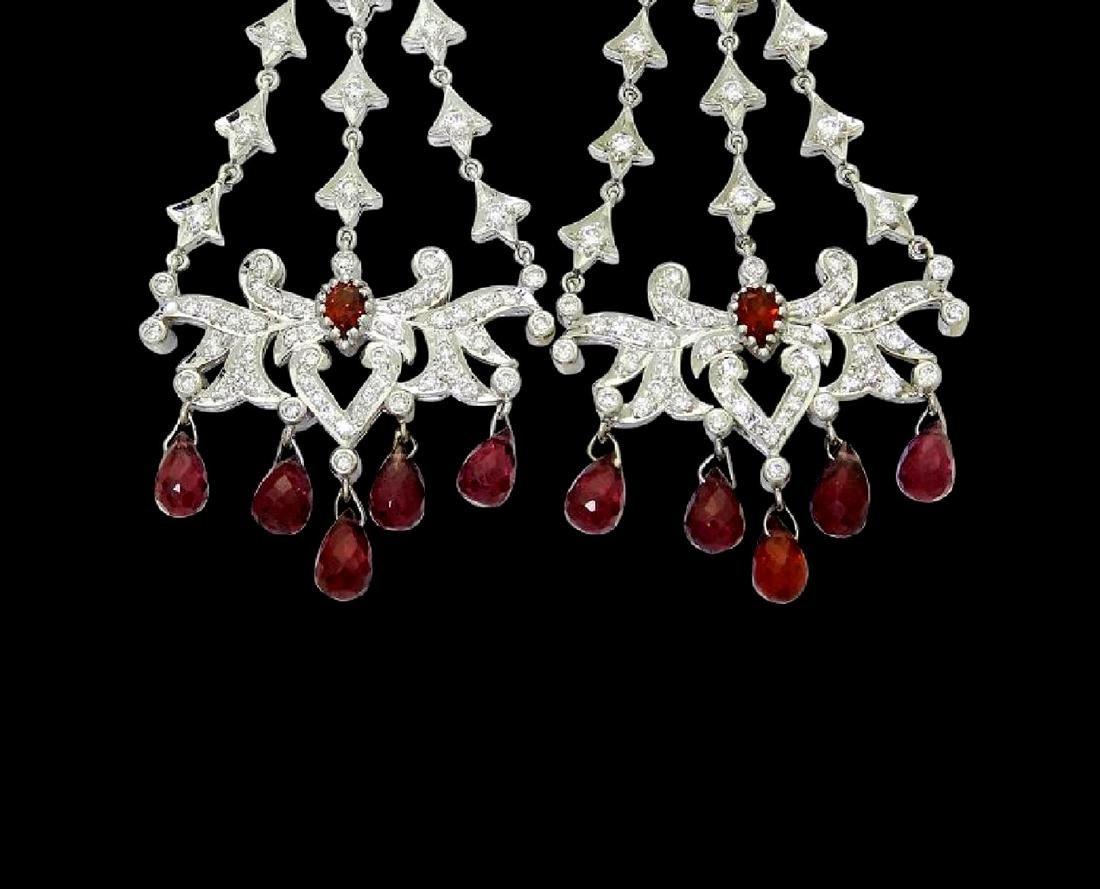 18k Gold 6.50 TCW Diamond & Garnet Chandelier Earrings - 2