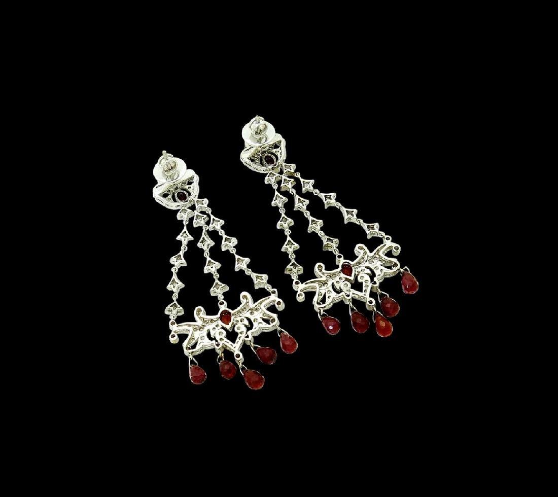 18k Gold 6.50 TCW Diamond & Garnet Chandelier Earrings - 3