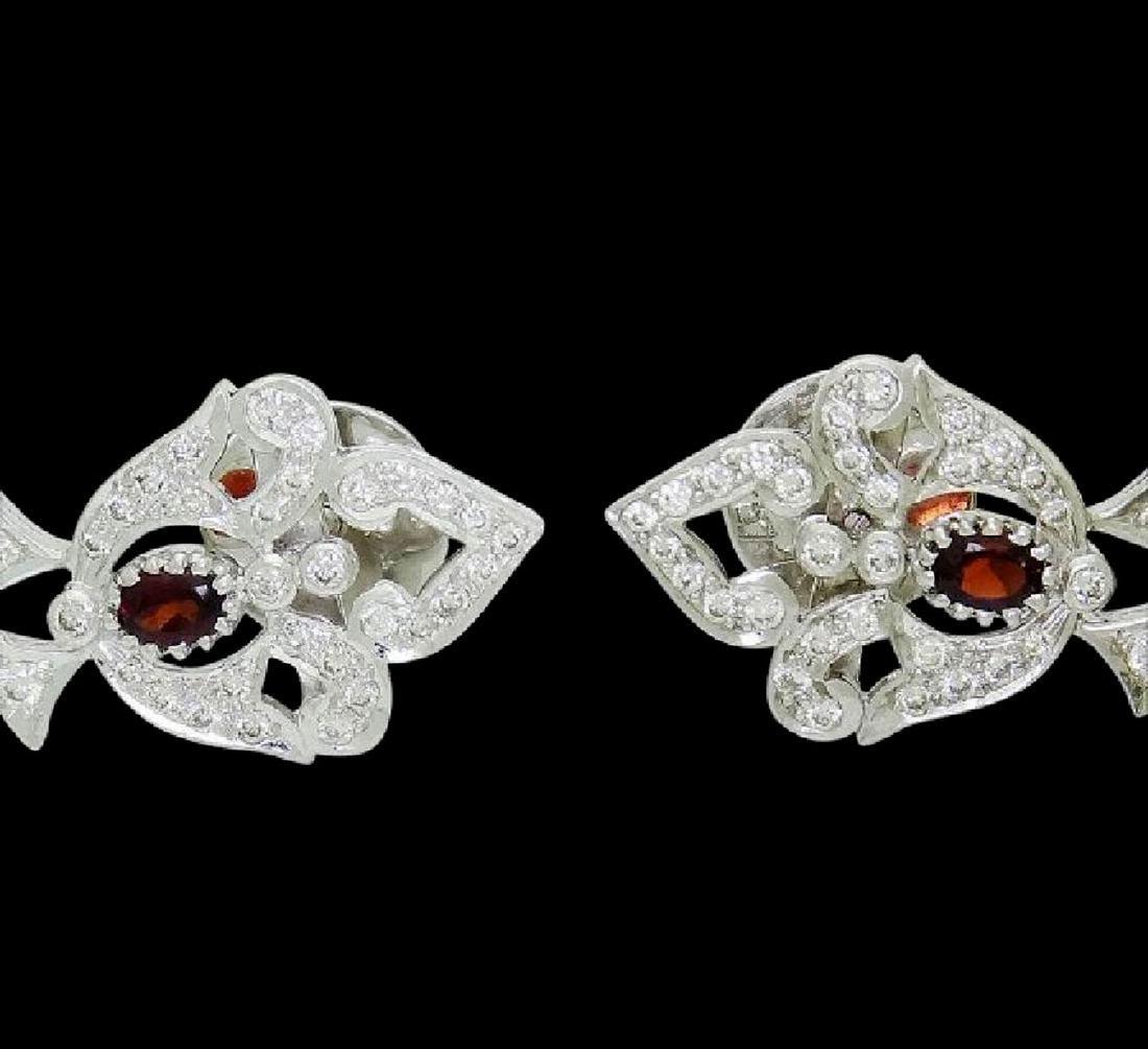 18k Gold 6.50 TCW Diamond & Garnet Chandelier Earrings - 4