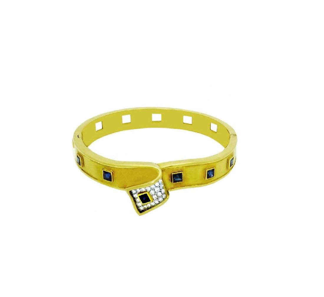Retro 18K Yellow Gold Sapphire and Diamond bangle