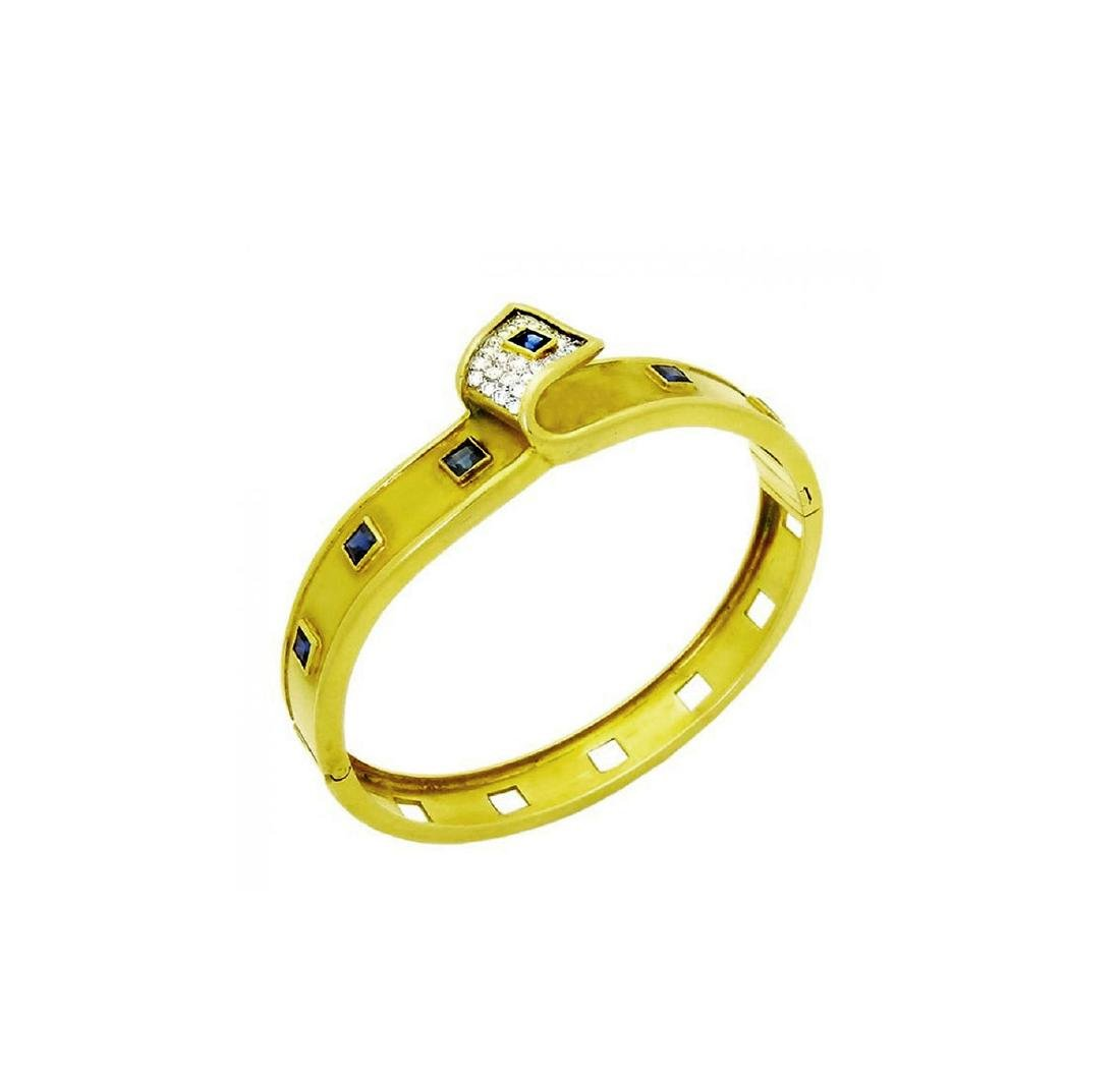 Retro 18K Yellow Gold Sapphire and Diamond bangle - 2