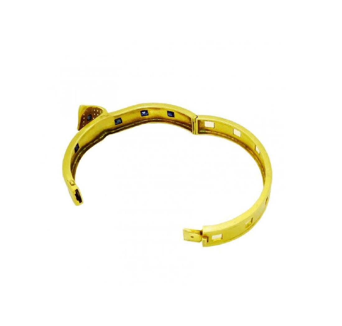 Retro 18K Yellow Gold Sapphire and Diamond bangle - 3