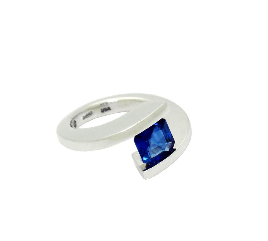 Steven Kretchmer 950 PT & 1.87 Ct Blue Sapphire Ring