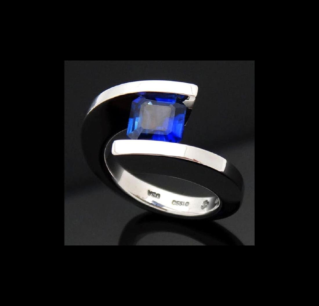 Steven Kretchmer 950 PT & 1.87 Ct Blue Sapphire Ring - 2