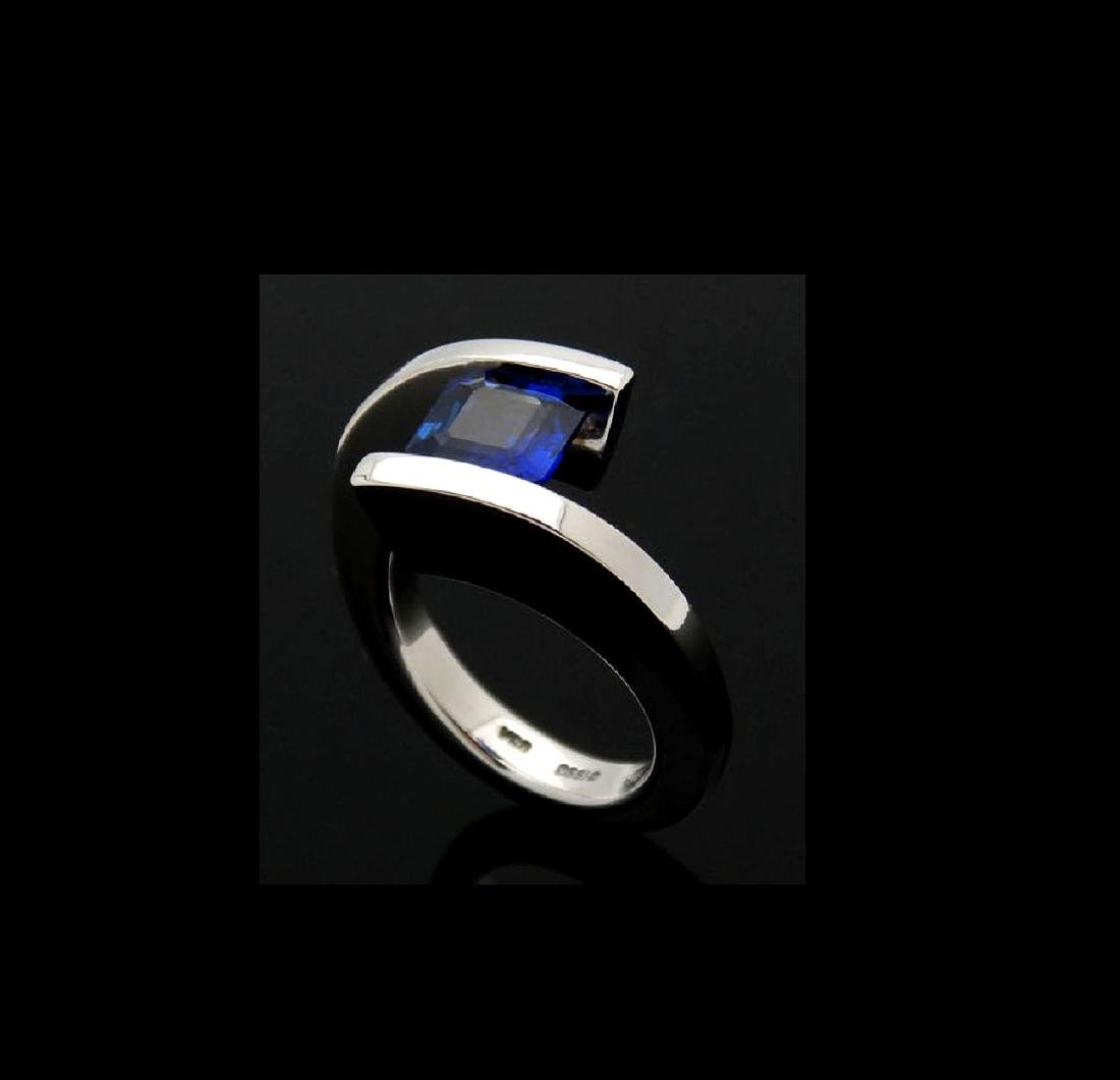 Steven Kretchmer 950 PT & 1.87 Ct Blue Sapphire Ring - 3