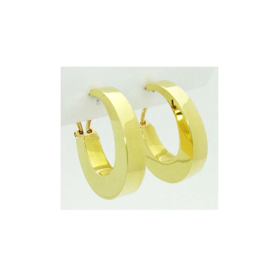 Tiffany & Co. 18k Wide Hoop Earrings Modernist 1960's