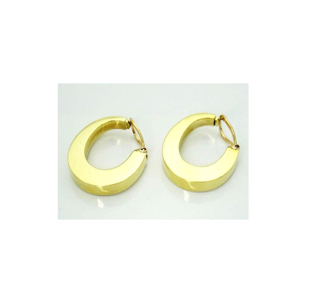 Tiffany & Co. 18k Wide Hoop Earrings Modernist 1960's - 2