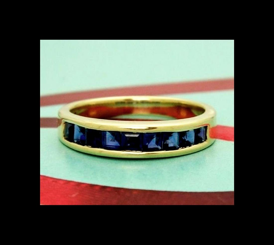 Tiffany & Co 18k Yellow Gold Sapphire Band Size 6.5