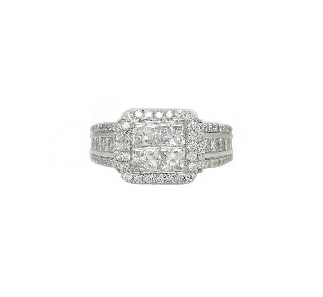 14k Gold 1.50 TCW SI1-2 F-G Princess Round Diamond Ring
