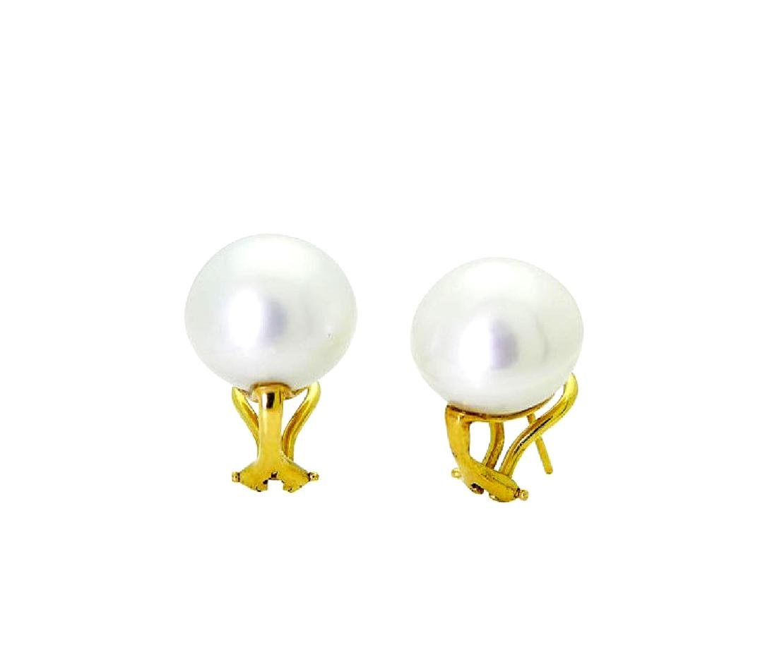 18k Yellow Gold 14mm Cultured Pearl Earrings