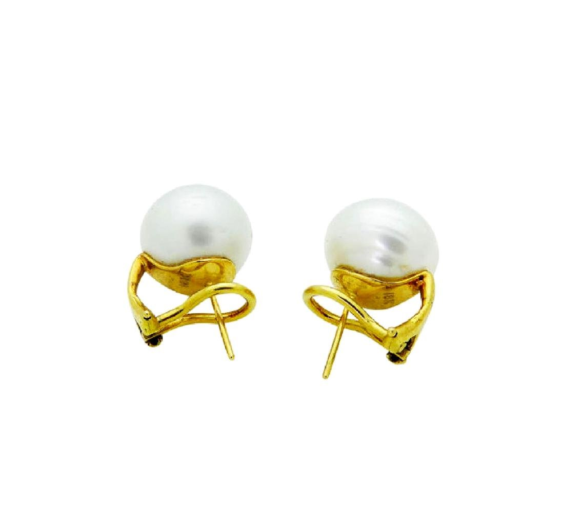 18k Yellow Gold 14mm Cultured Pearl Earrings - 2
