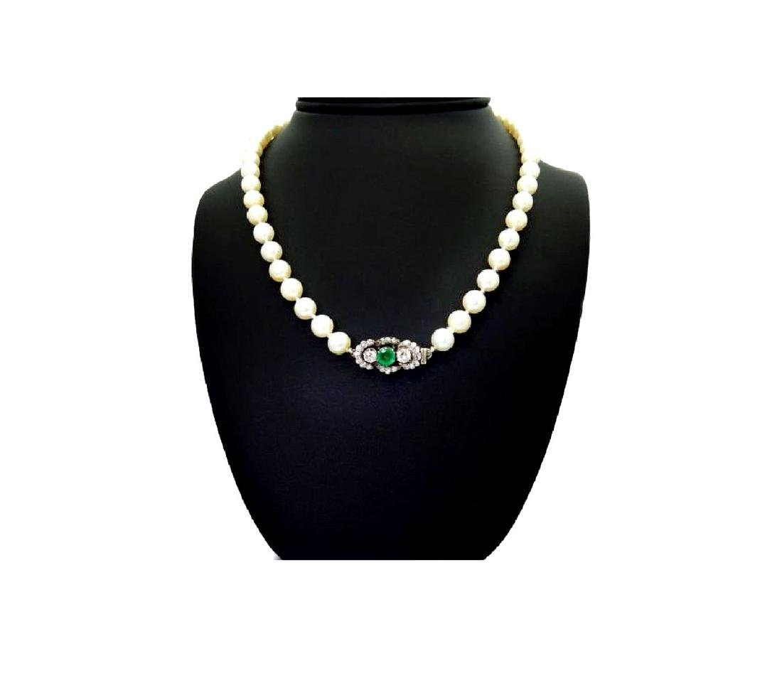 Antique 14k Emerald Dia Akoya Cultured Pearl Necklace