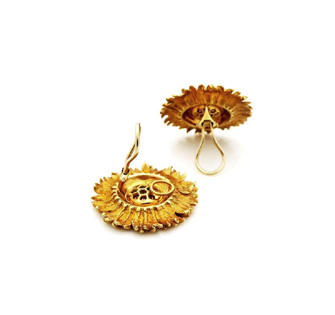 RBB clip 18k Yellow Gold 1tcw Diamond Sunflower Earings - 2