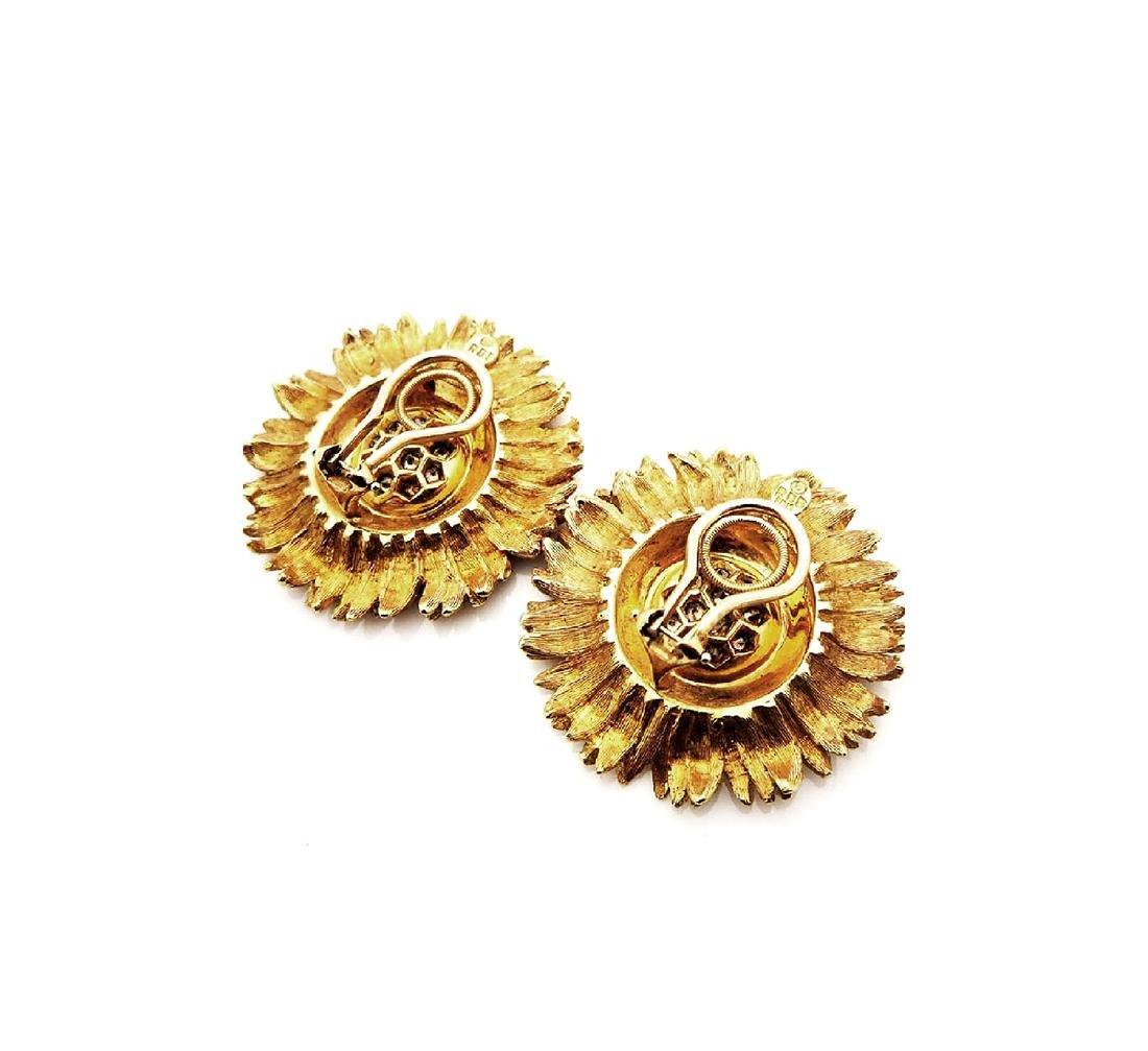 RBB clip 18k Yellow Gold 1tcw Diamond Sunflower Earings - 3