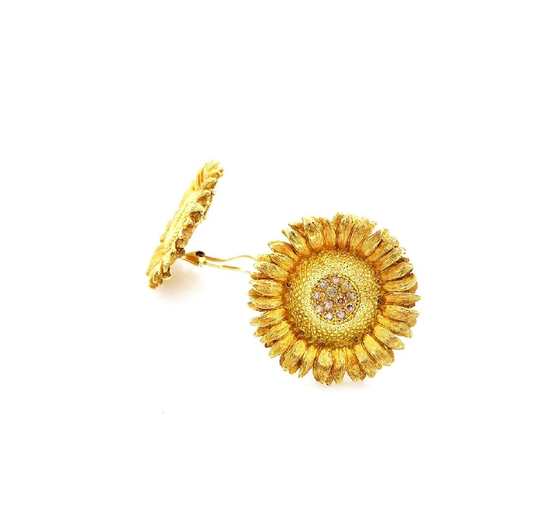 RBB clip 18k Yellow Gold 1tcw Diamond Sunflower Earings - 4