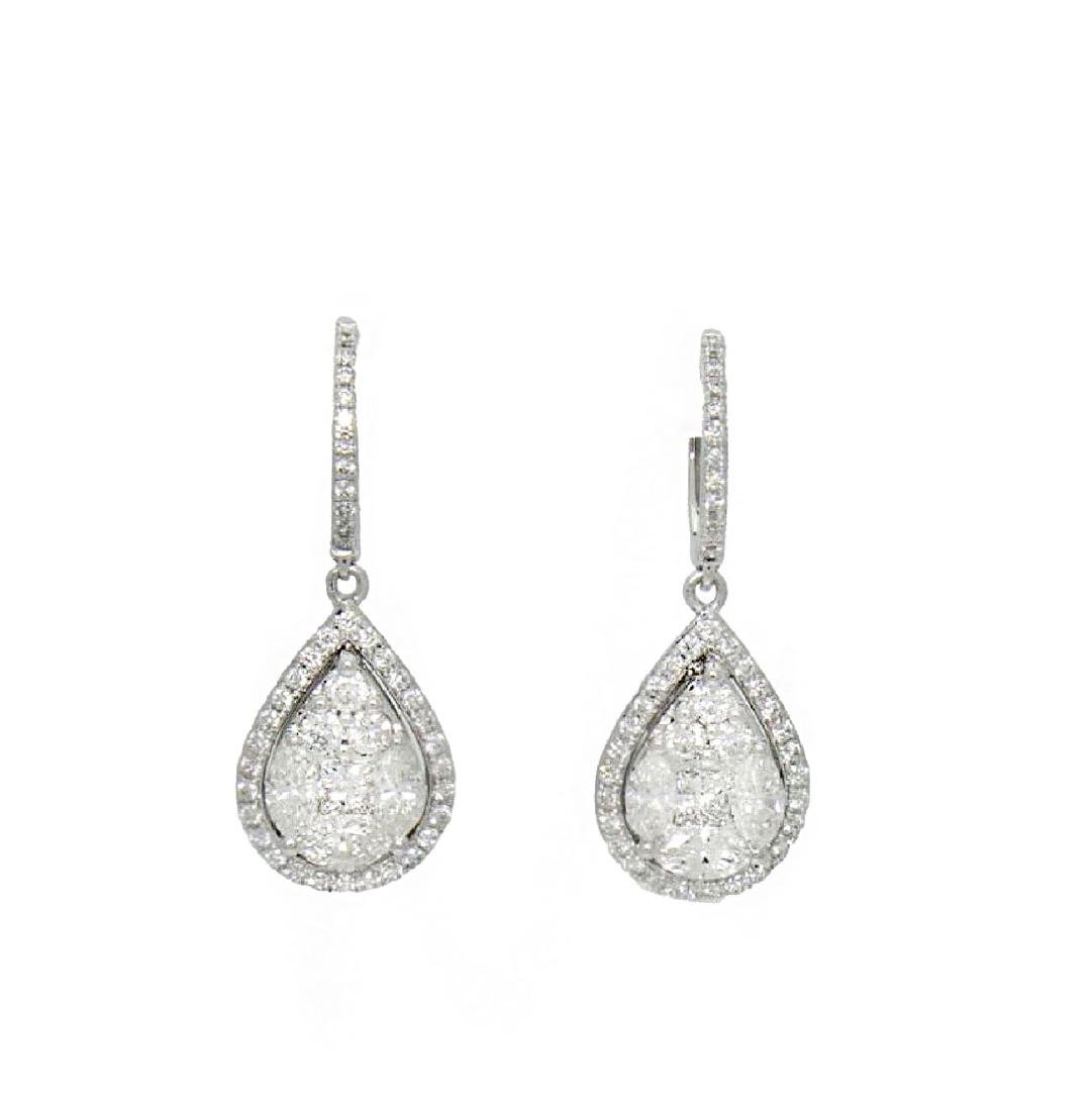 18k Gold 2.98TCW Diamond Teardrop Dangle Drop Earrings