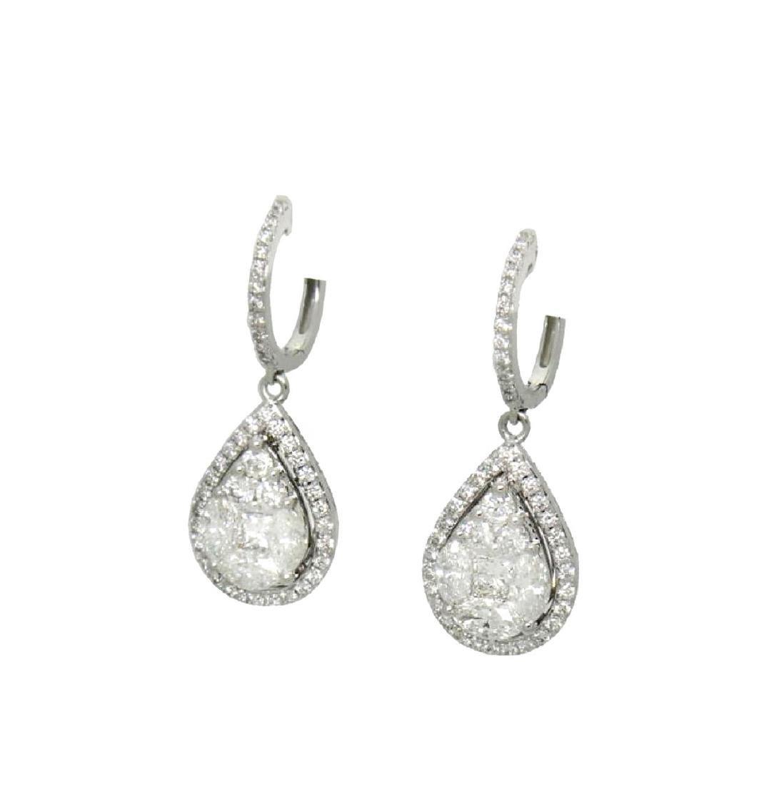 18k Gold 2.98TCW Diamond Teardrop Dangle Drop Earrings - 2