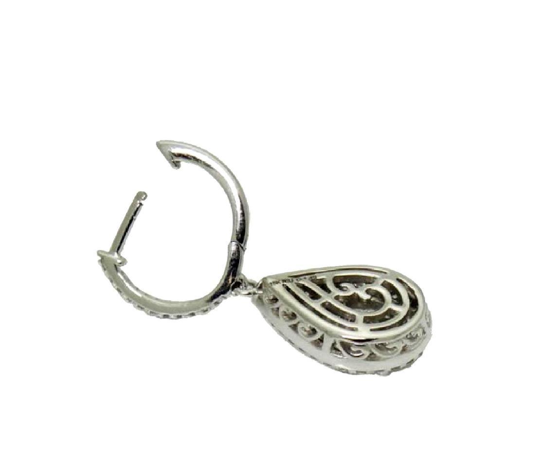 18k Gold 2.98TCW Diamond Teardrop Dangle Drop Earrings - 3