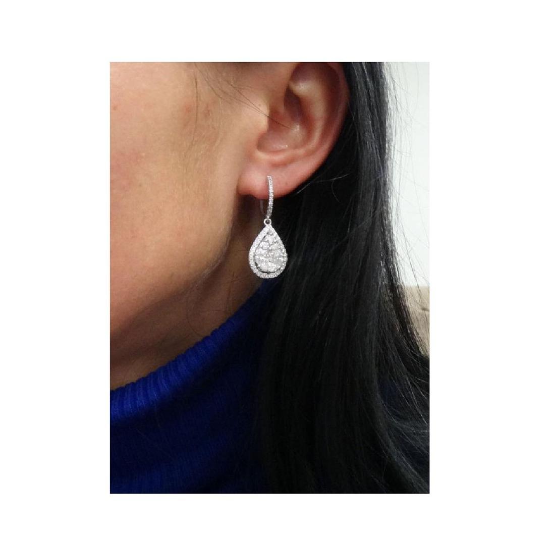 18k Gold 2.98TCW Diamond Teardrop Dangle Drop Earrings - 5