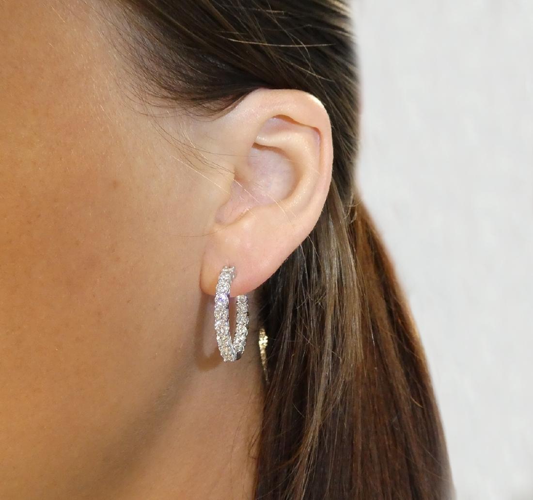Tiffany & Co Diamond Medium Hoop Earrings in Platinum - 3
