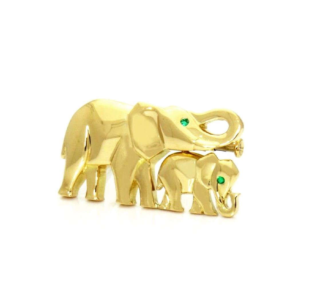 Cartier Emerald & 18K Gold Elephant Mother Child Pin - 2