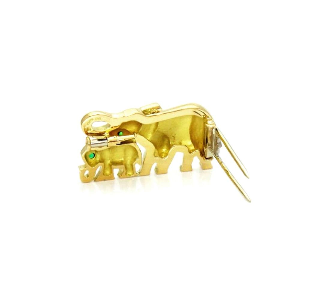 Cartier Emerald & 18K Gold Elephant Mother Child Pin - 3