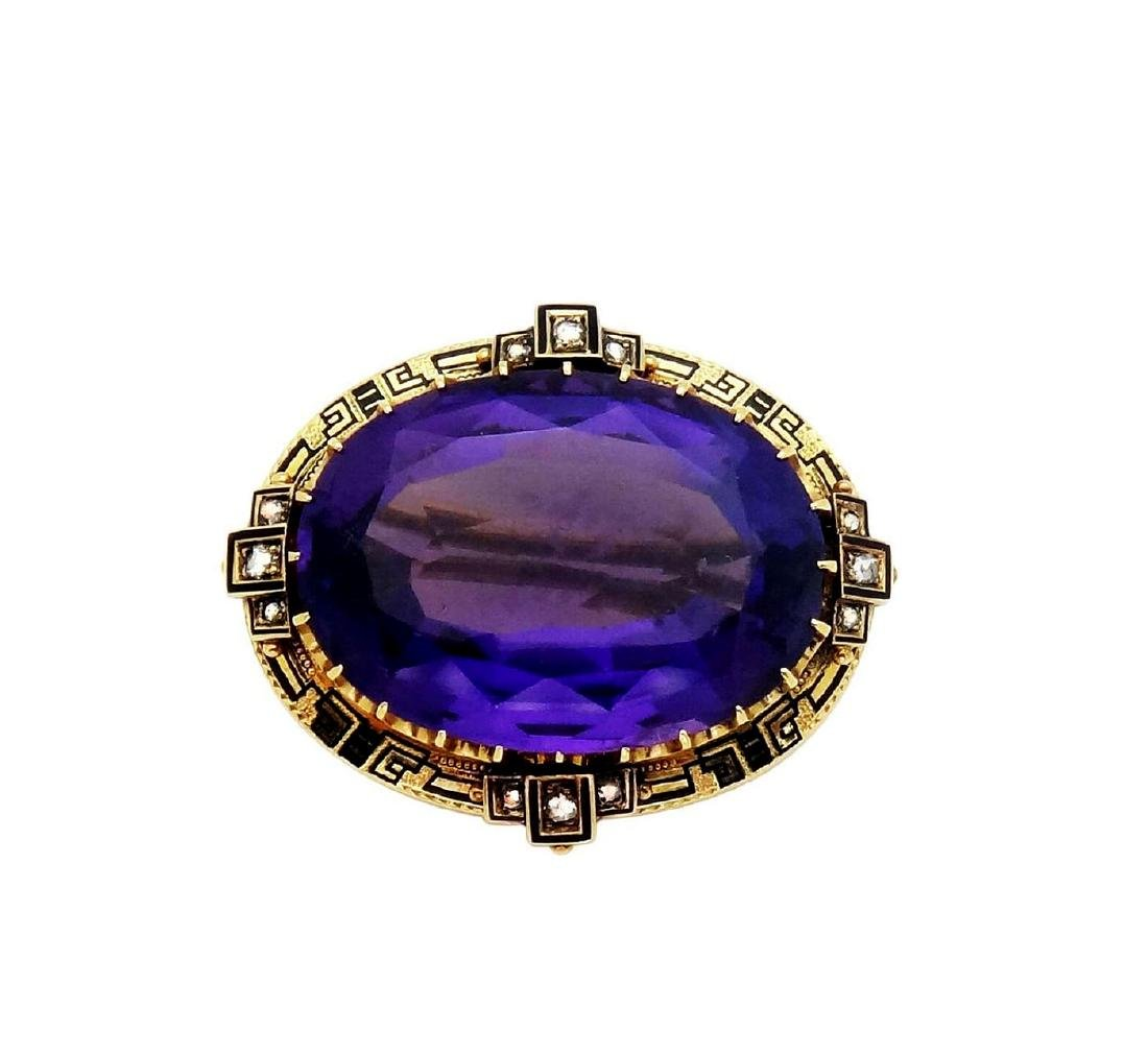 18K Gold Amethyst apx. 30.TCW Rose Cut Diamonds Pin