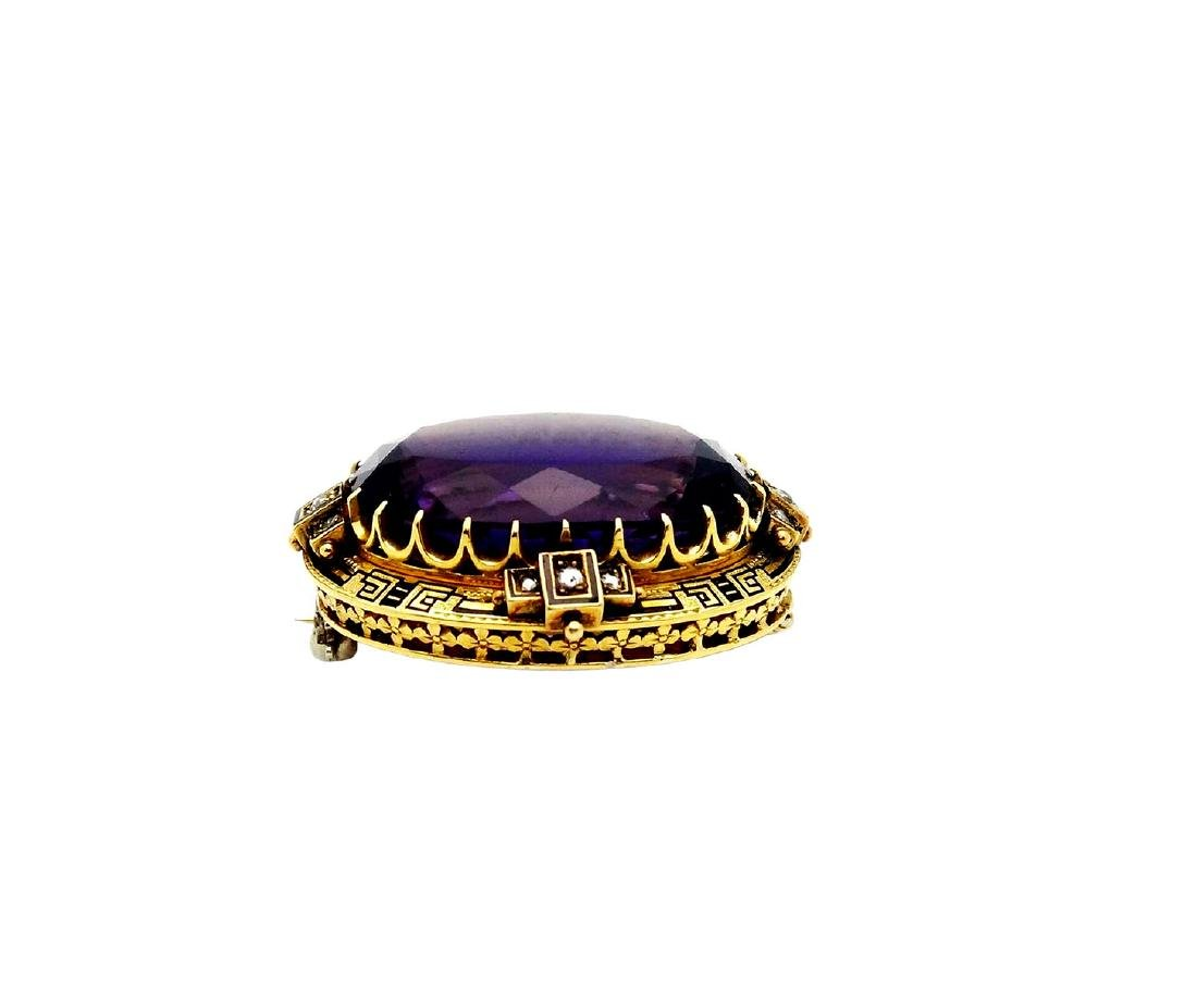 18K Gold Amethyst apx. 30.TCW Rose Cut Diamonds Pin - 3
