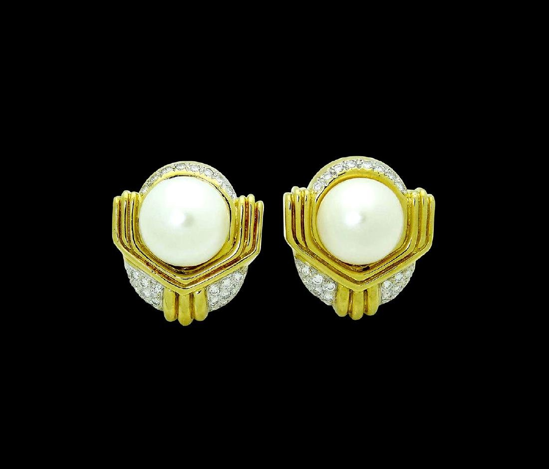 Ivan & Co. 18k Yellow Gold Diamond & Pearl Earrings