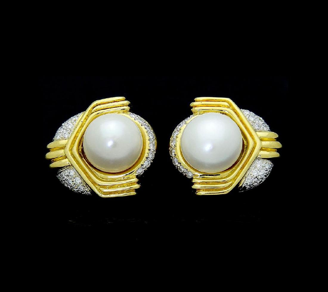 Ivan & Co. 18k Yellow Gold Diamond & Pearl Earrings - 2