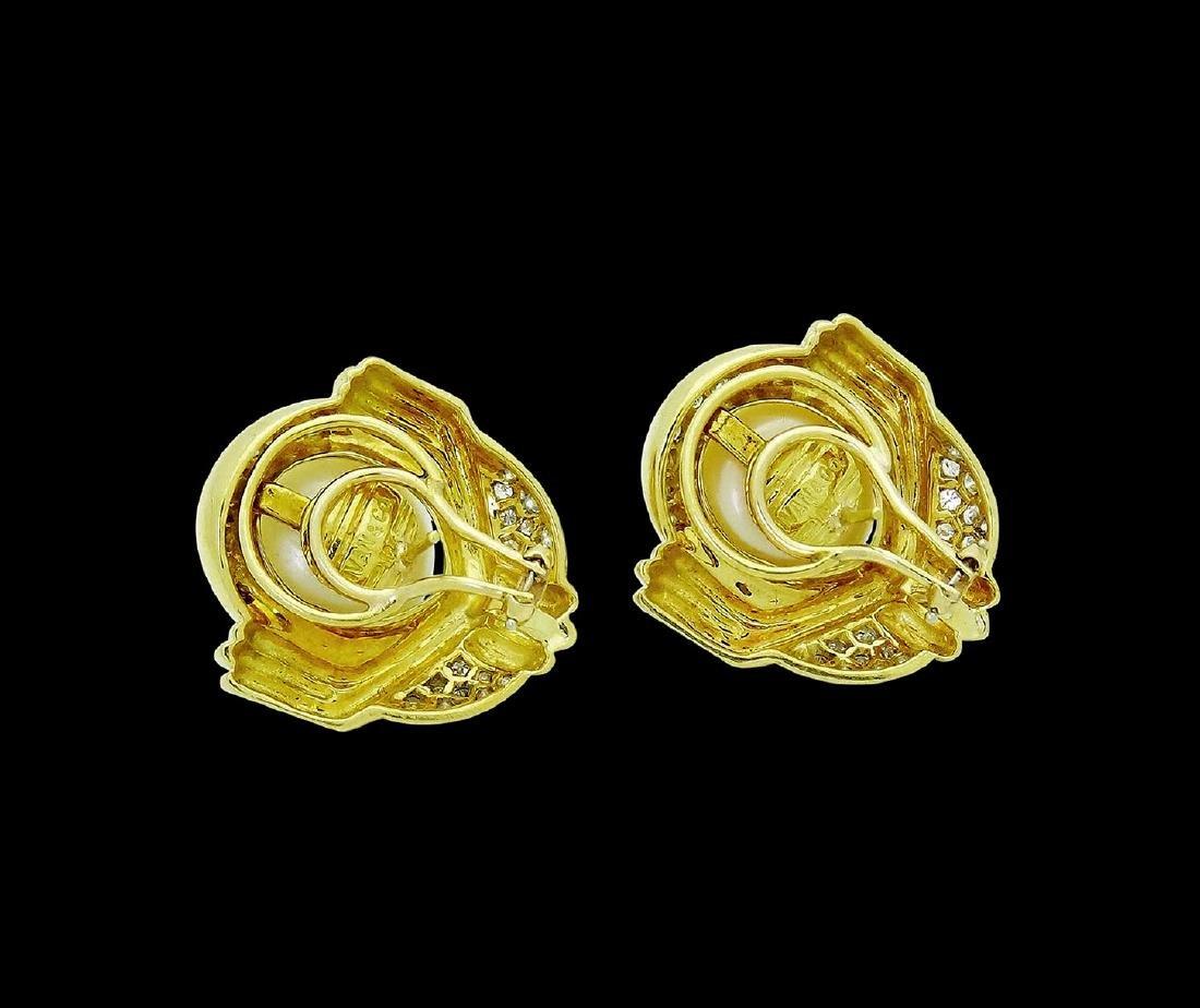 Ivan & Co. 18k Yellow Gold Diamond & Pearl Earrings - 3