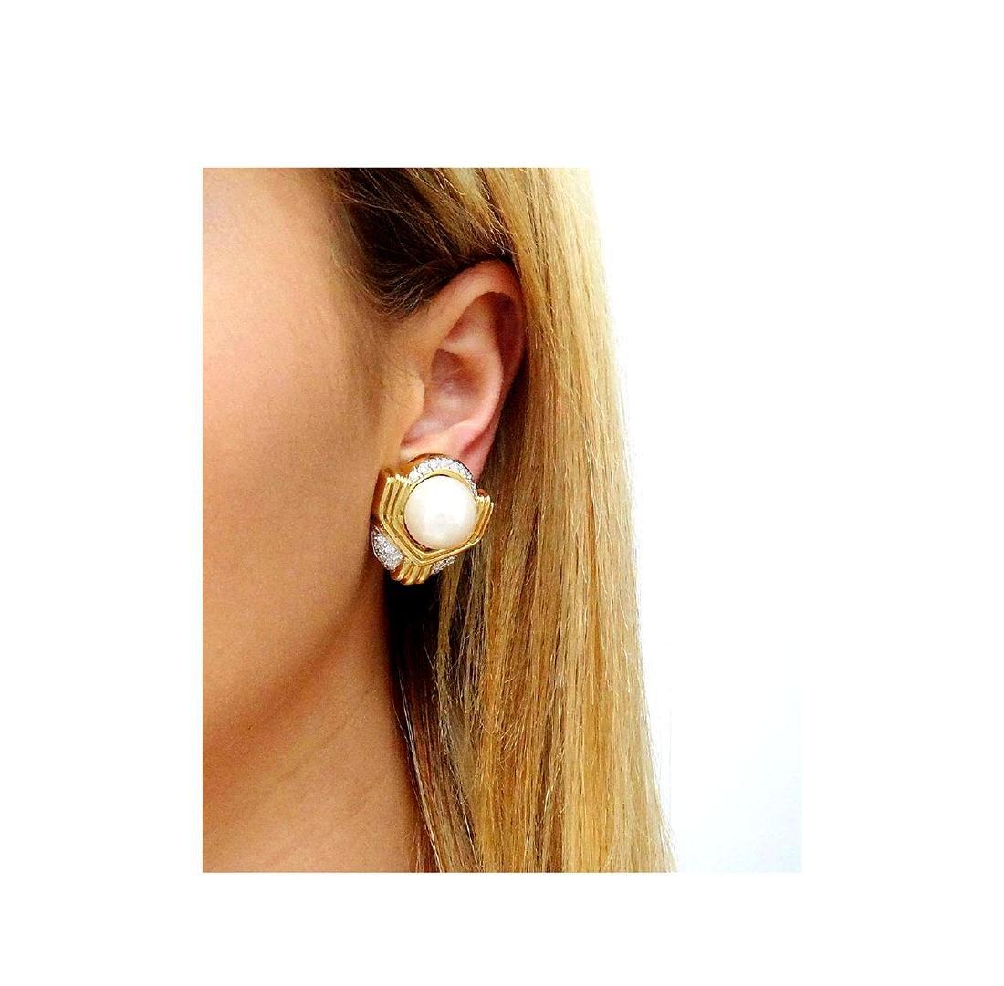 Ivan & Co. 18k Yellow Gold Diamond & Pearl Earrings - 5