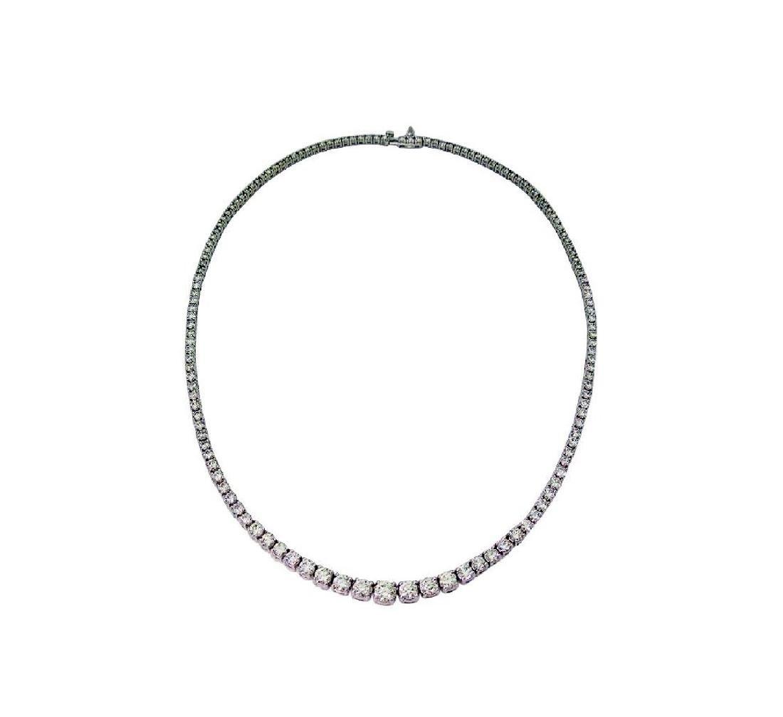 14K Gold & Round Briliant Diamond Tennis Necklace