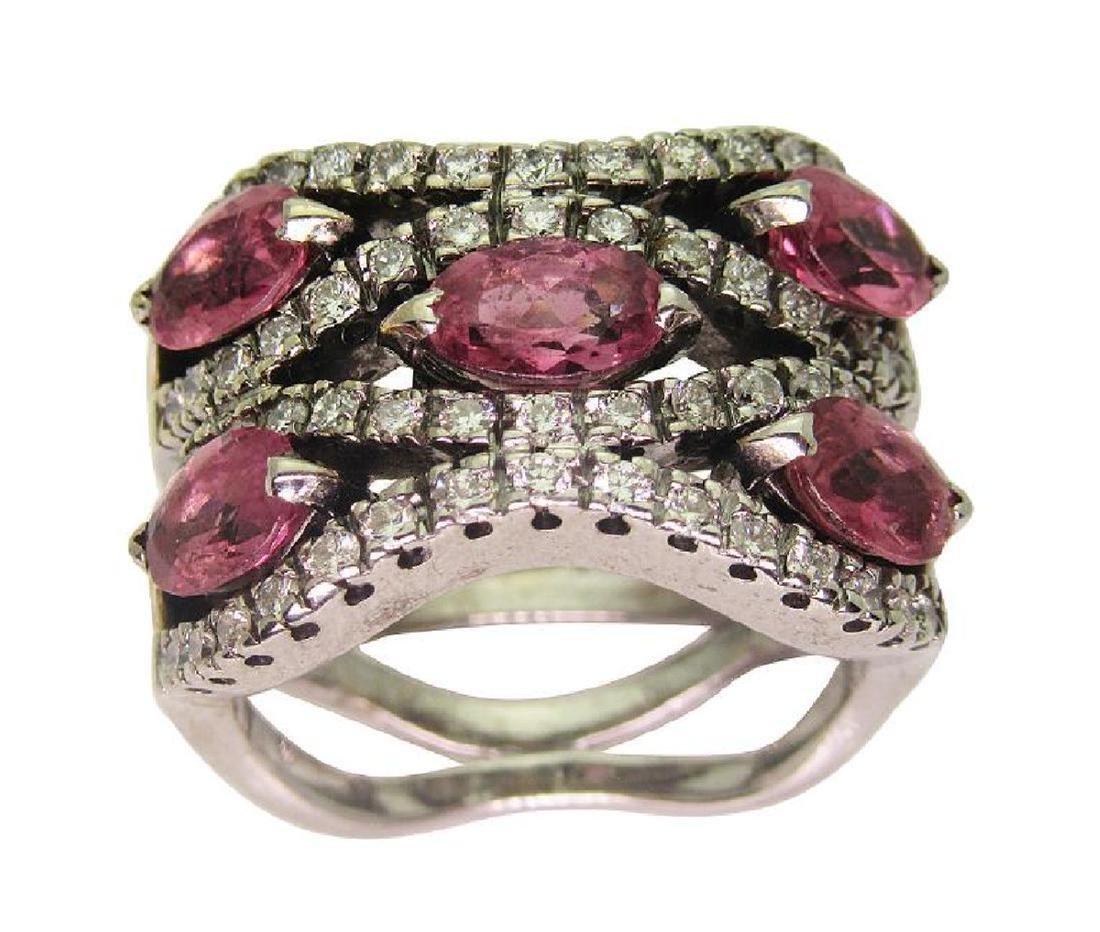14K White Gold 1TCW Diamond & Tourmaline Ring size 5.5