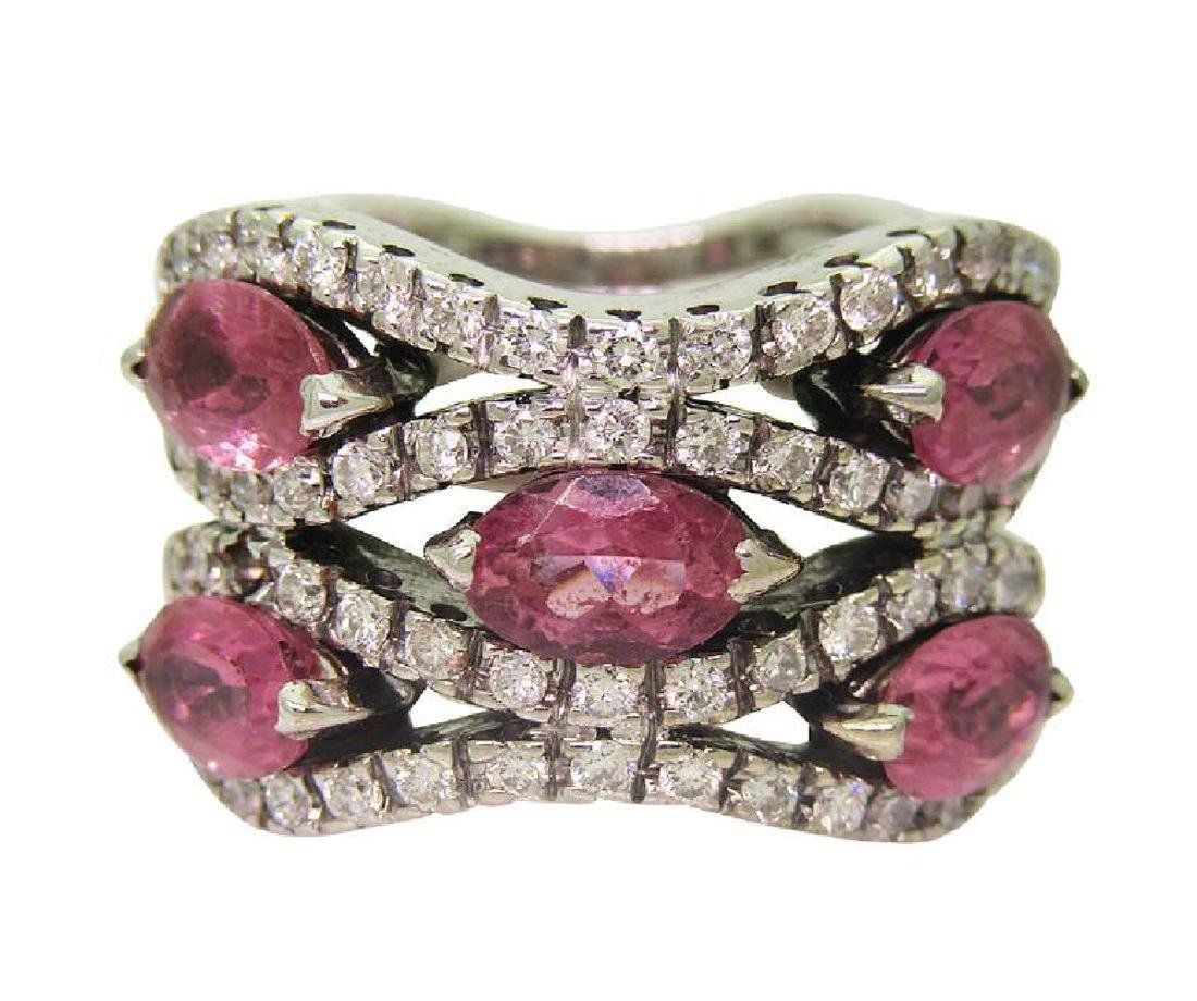 14K White Gold 1TCW Diamond & Tourmaline Ring size 5.5 - 2