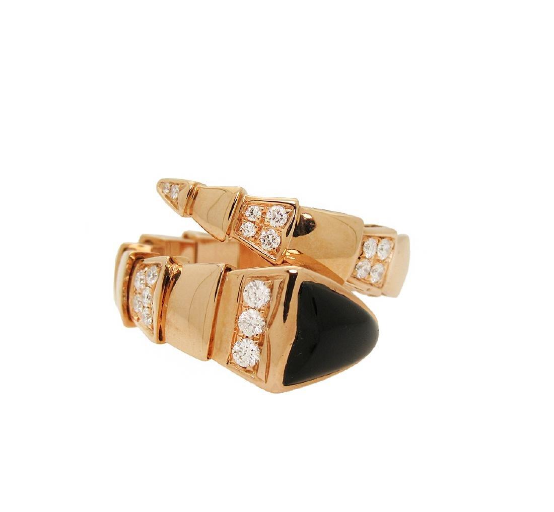 Bulgari 18k Rose 1.50 TCW Pave Diamond Onyx Ring Size