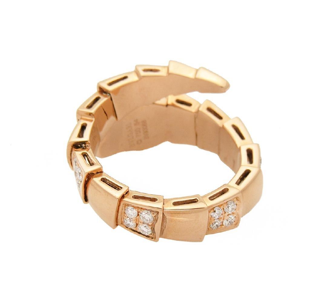 Bulgari 18k Rose 1.50 TCW Pave Diamond Onyx Ring Size - 2