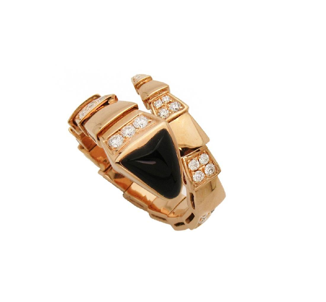 Bulgari 18k Rose 1.50 TCW Pave Diamond Onyx Ring Size - 3