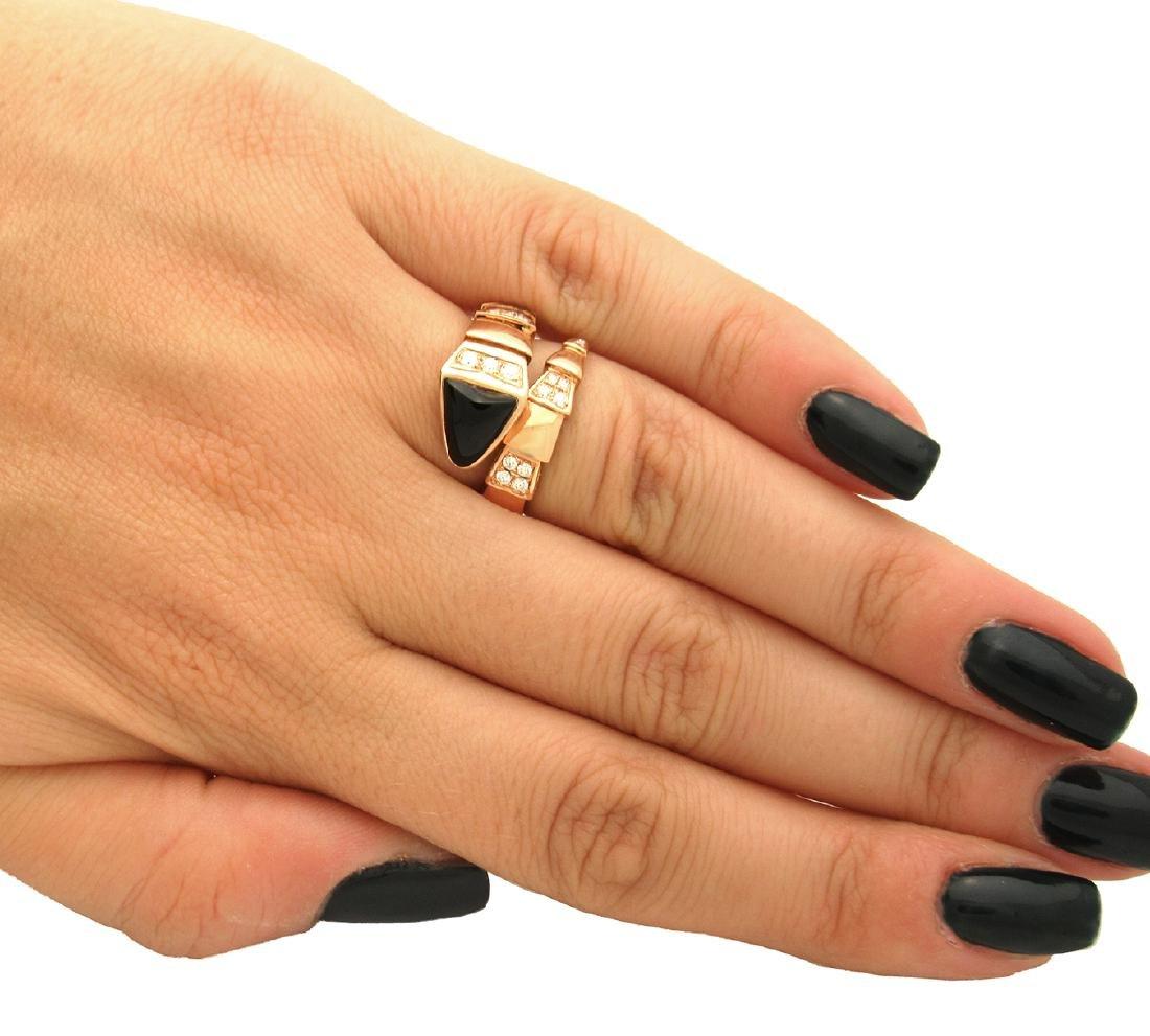 Bulgari 18k Rose 1.50 TCW Pave Diamond Onyx Ring Size - 4