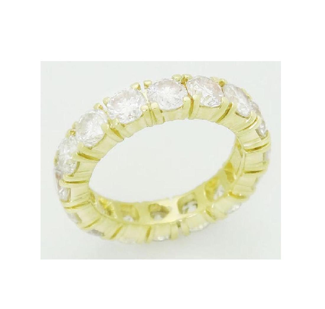 18k Gold 3.20 Carats TCW Diamond Eternity Band Ring - 3