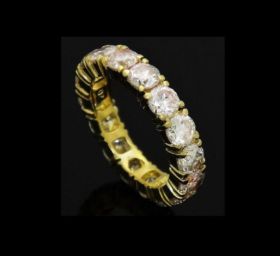 18k Gold 3.20 Carats TCW Diamond Eternity Band Ring - 5