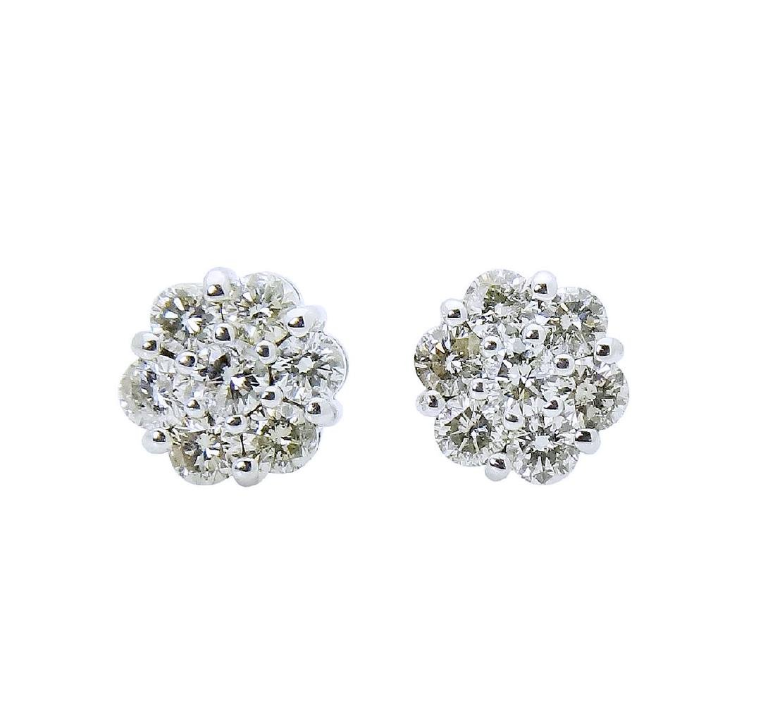 18k White Gold over 1TCW Diamond stud Earrings