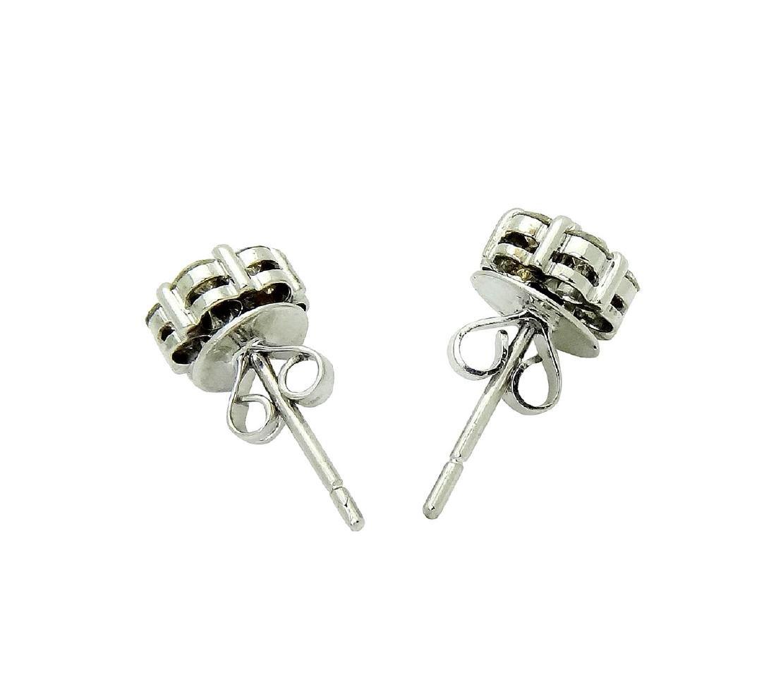 18k White Gold over 1TCW Diamond stud Earrings - 2
