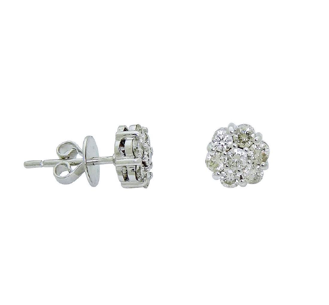 18k White Gold over 1TCW Diamond stud Earrings - 3