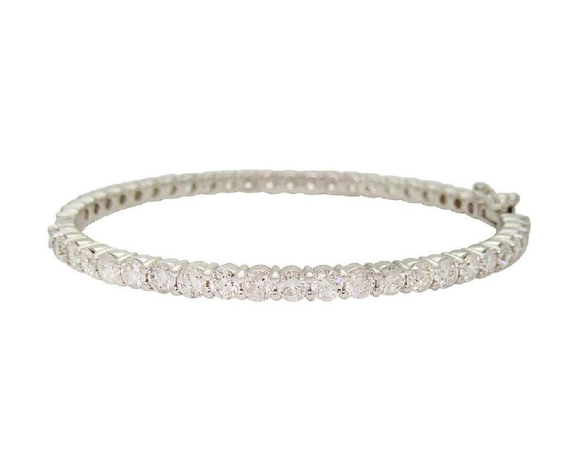 14k White Gold Round Briliant Diamond Bangle Bracelet