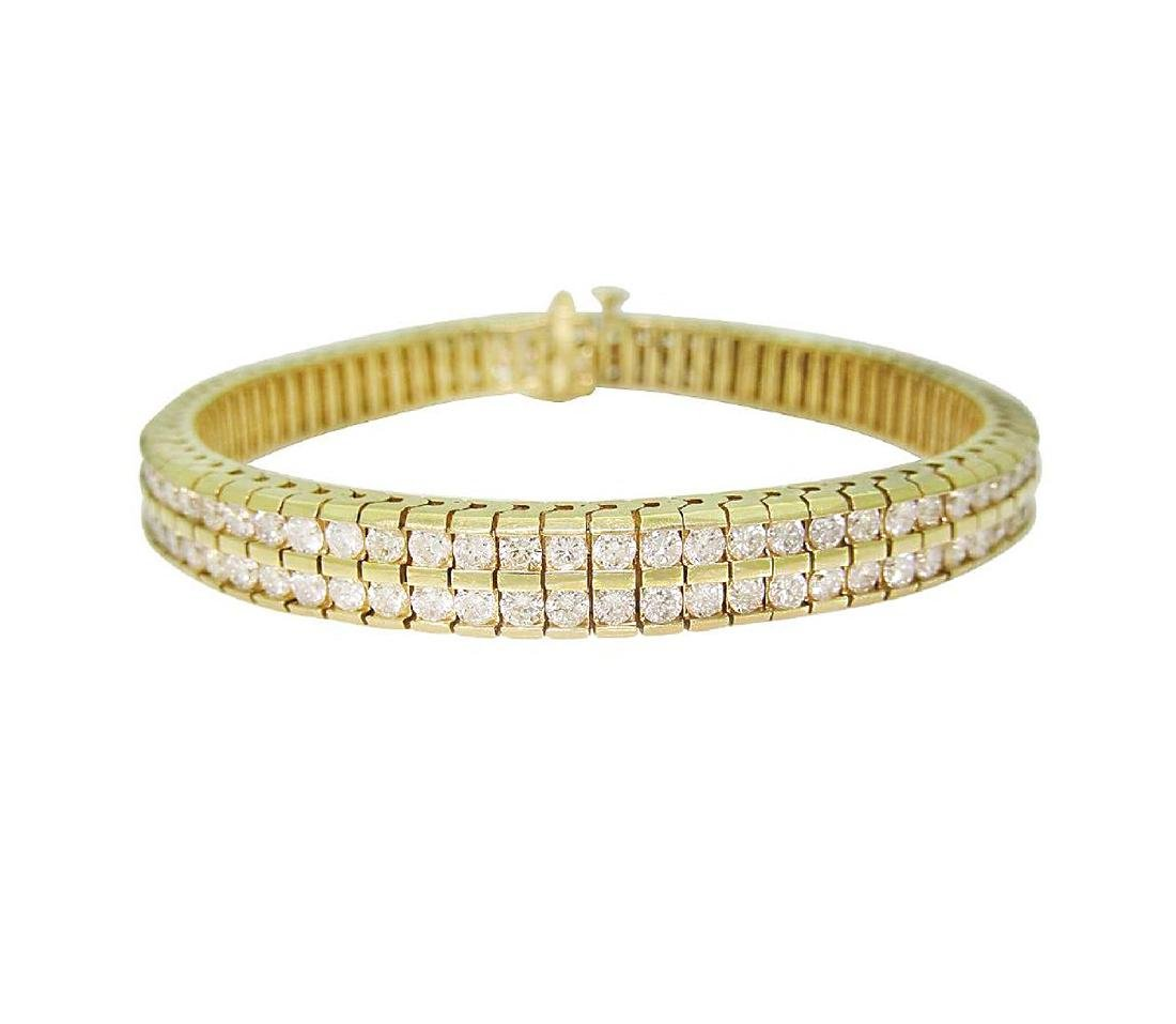 14K Gold & Round Brilliant Diamond Two Row Tennis