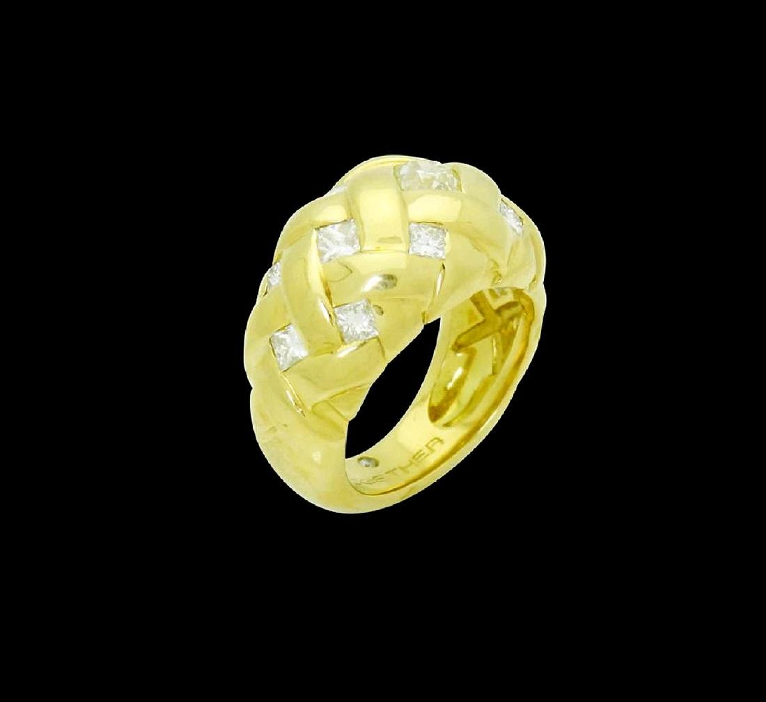 18k Gold & Apx. 2.25 Carats TCW Diamond Braided Ring