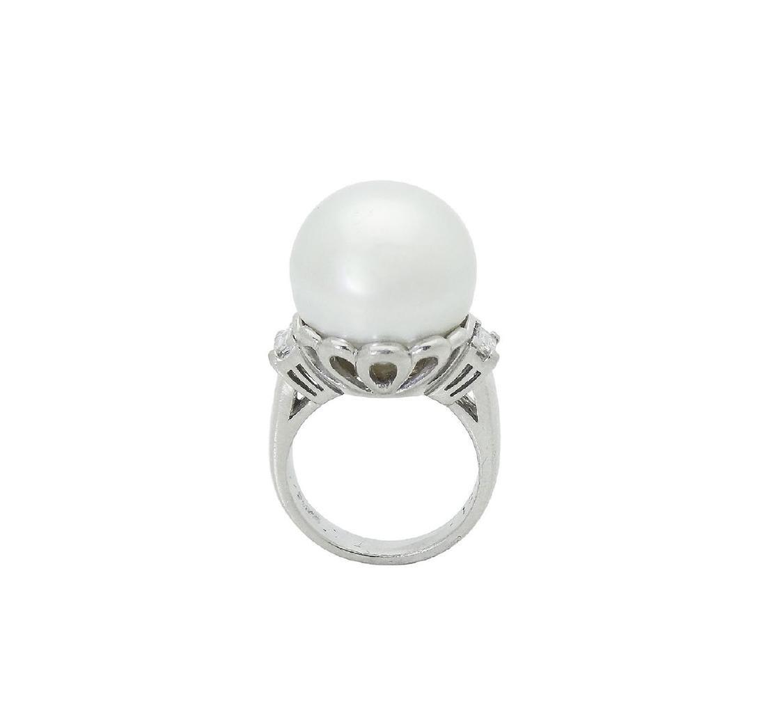 Platinum Pearl Emerald Cut Diamond Ring