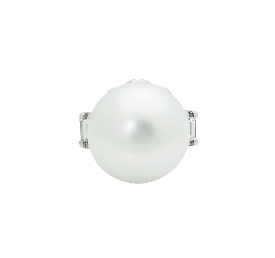 Platinum Pearl Emerald Cut Diamond Ring - 2