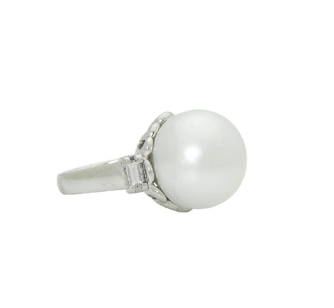 Platinum Pearl Emerald Cut Diamond Ring - 3